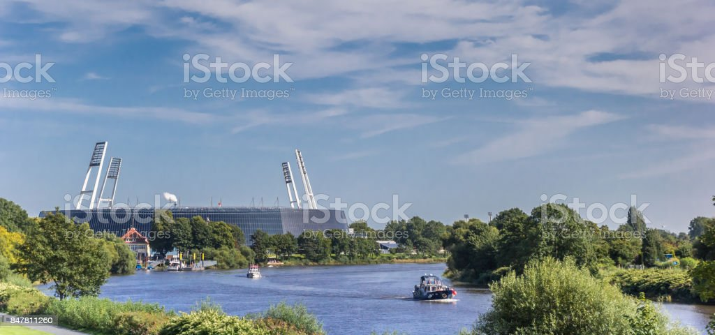 Panorama of the stadium along the river Weser in Bremen, Germany stock photo