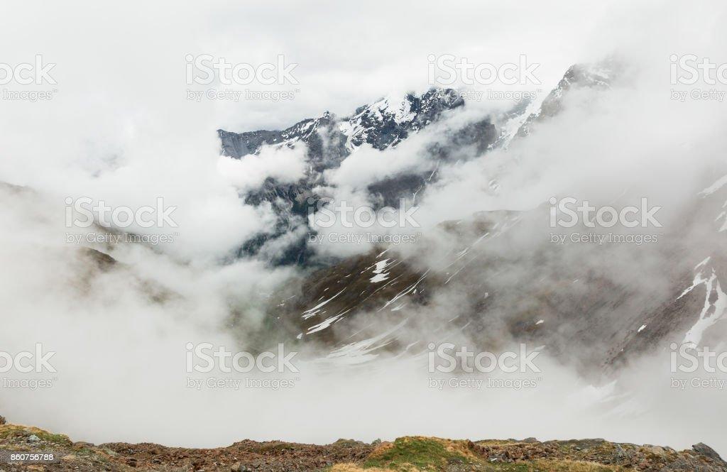 panorama of the Stelvio Pass stock photo