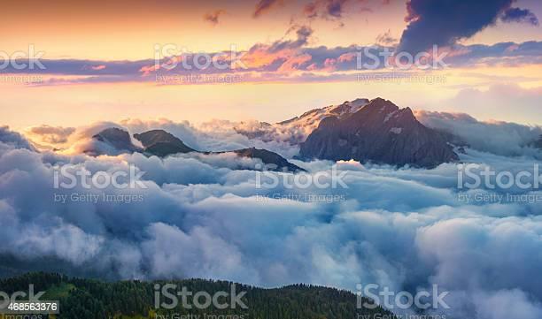 Panorama of the sunrise in foggy val di fassa valley picture id468563376?b=1&k=6&m=468563376&s=612x612&h=wkjx9zop9rao74uym8wsv6ohursbcdi9xiqbec361ve=
