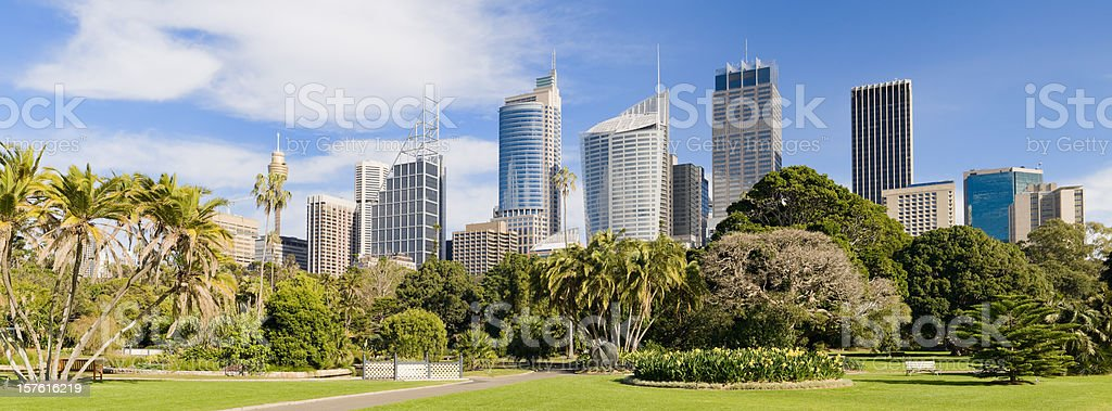 Panorama of the Sydney skyline and Royal Botanic Gardens stock photo