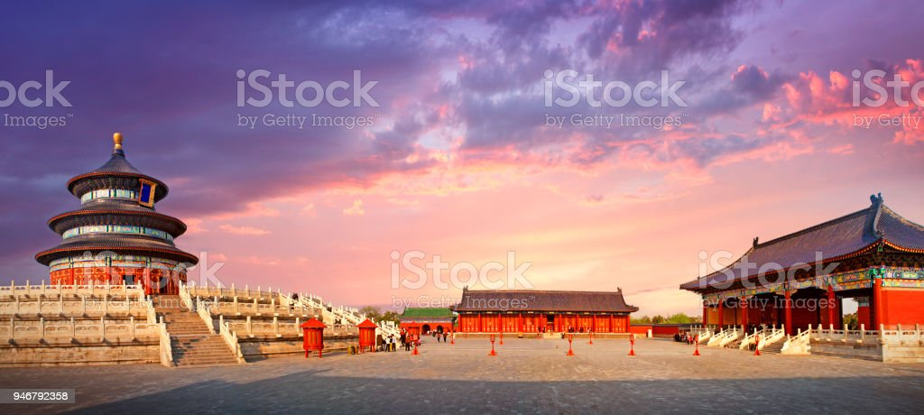 Panorama of the Temple of Heaven in Beijing stock photo