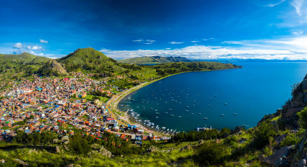 Panorama of the town of Copacabana on Lake Titicaca, Bolivia stock photo