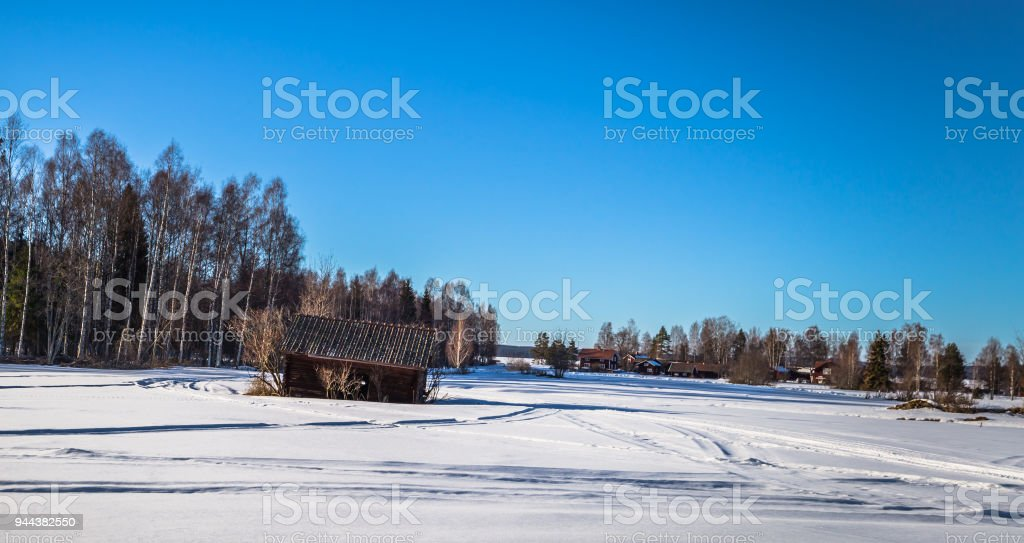 Rattvik - March 30, 2018: Panorama of the town of Rattvik, Dalarna, Sweden stock photo