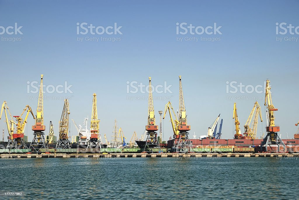 Panorama of the trading seaport royalty-free stock photo