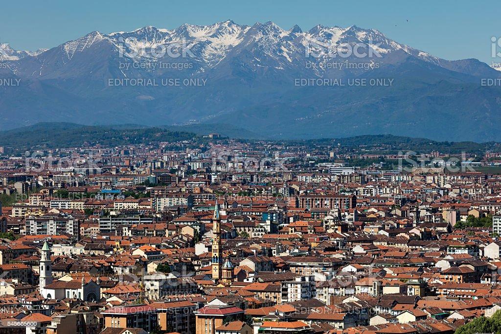 Panorama of the Turin, Italy stock photo