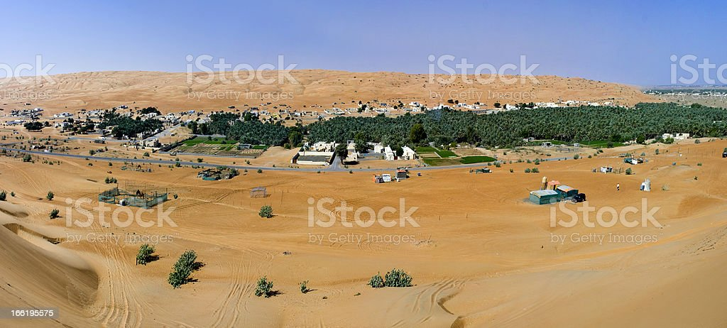 Panorama of the village, Oman stock photo