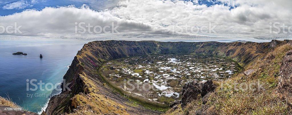 Panorama des Krater Rano Kau, Osterinsel, Chile - Lizenzfrei Bildhintergrund Stock-Foto