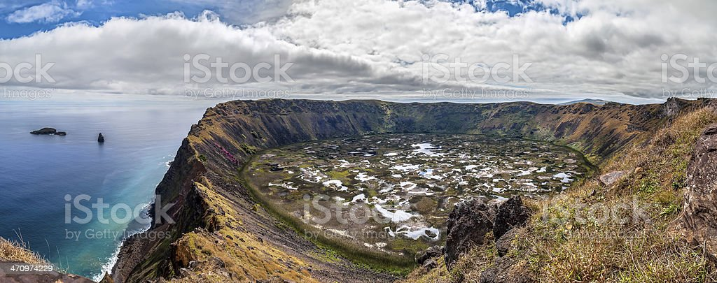 Panorama of the volcanic crater of Rano Kau, Easter Island, Chile stock photo