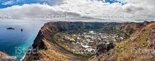 Panorama Des Krater Rano Kau Osterinsel Chile Stockfoto und mehr Bilder von Bildhintergrund