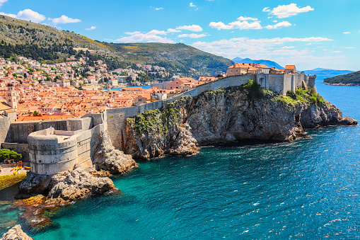 Panorama of the walled old town of Dubrovnik in Croatia