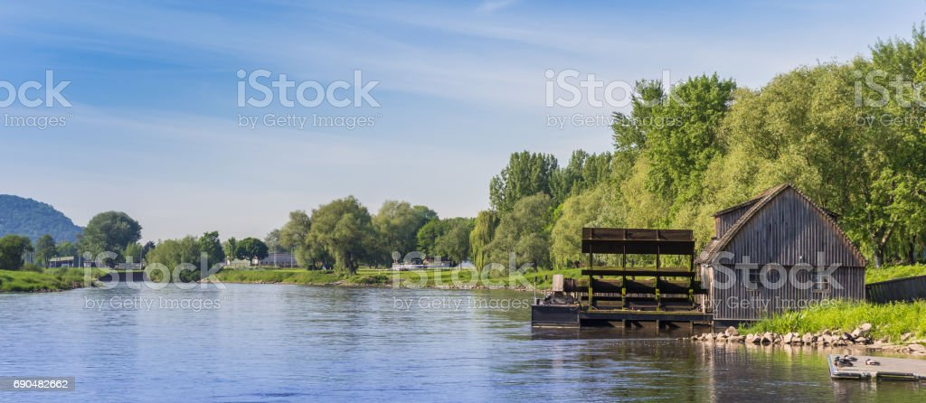 Panorama of the Weser river near Minden, Germany stock photo