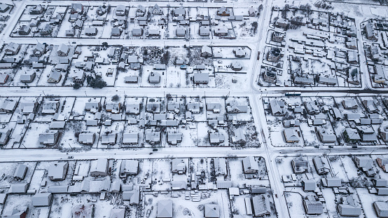 Panorama of the winter city. Aerial photography with quadcopter