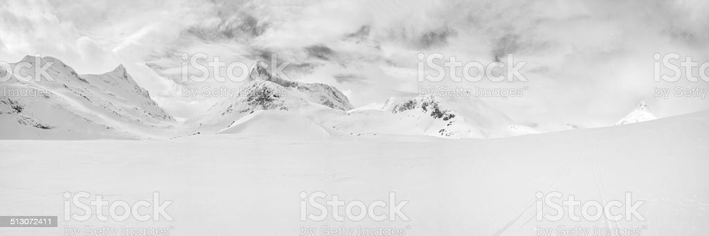 Panorama of the winter mountains of Jotunheimen National Park stock photo