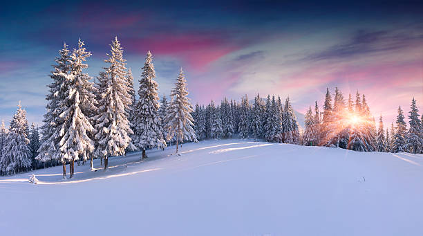 panorama of the winter sunrise in mountains - non urban scene stock photos and pictures