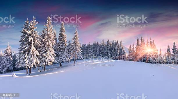 Photo of Panorama of the winter sunrise in mountains