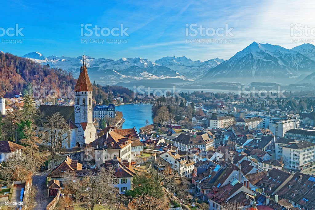 Panorama of Thun Church and City with Thunersee and Alps stock photo