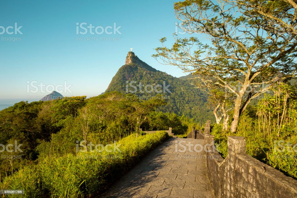 Panorama of Tijuca forest and Corcovado mountain in Rio de Janeiro, Brazil stock photo