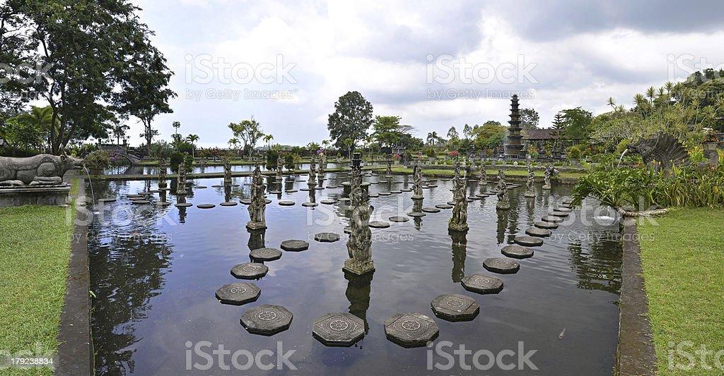 Panorama of Tirtagangga water palace on Bali royalty-free stock photo