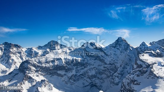 Panorama of Titlis mountain in summer, Switzerland,European Alps in sunny day
