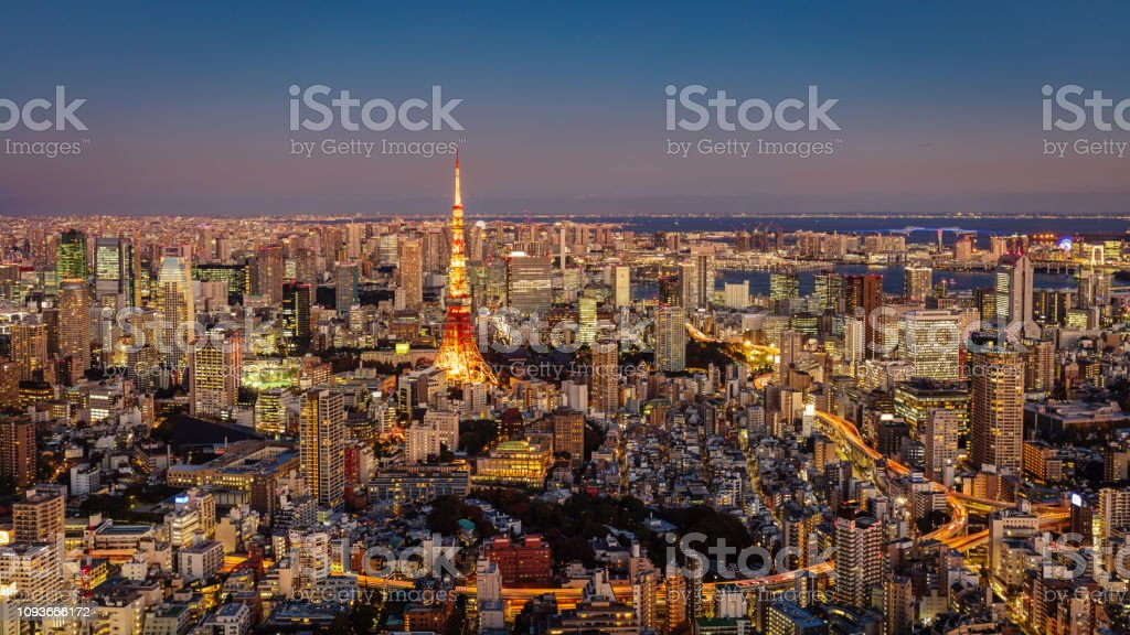 Panorama of Tokyo Cityscape at Night with Tokyo Tower stock photo