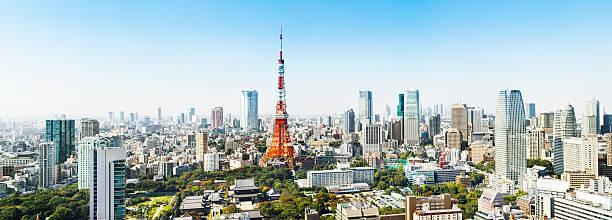 Panorama of Tokyo, Japan stock photo
