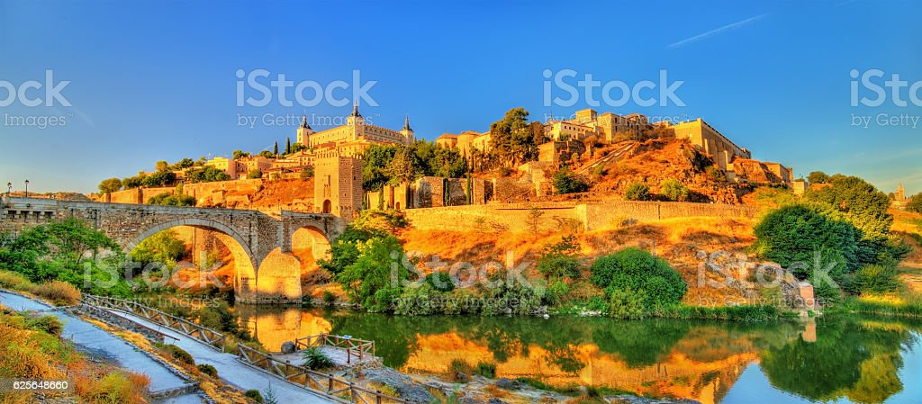 Panorama of Toledo with the Alcantara Bridge, Spain stock photo