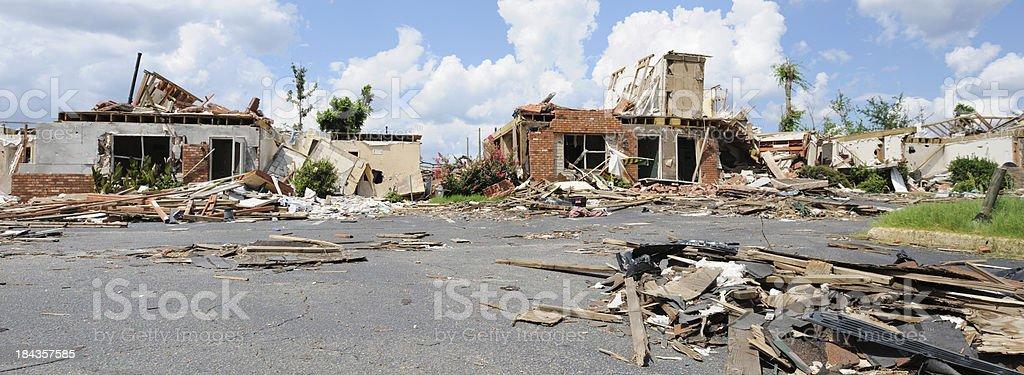 Panorama of tornado damage stock photo