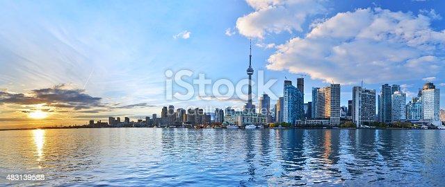 istock Panorama of Toronto skyline at sunset in Ontario, Canada. 483139588