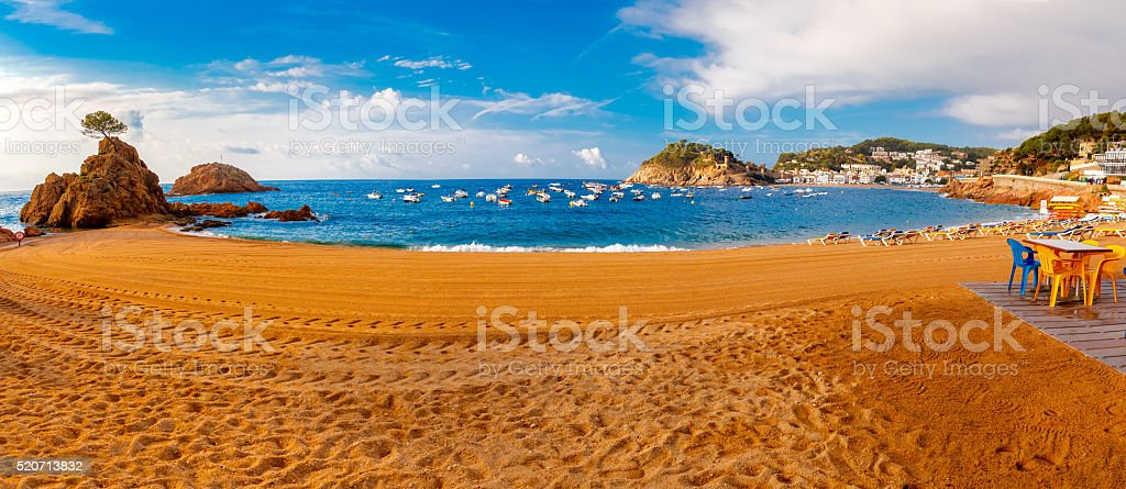 Panorama of Tossa de Mar, Costa Brava, Spain stock photo