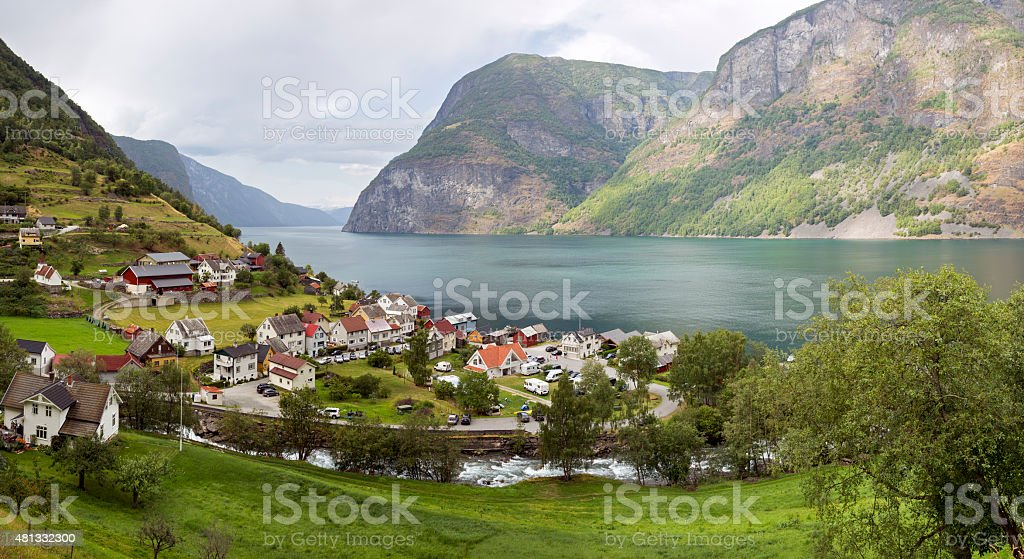 Panorama of town Undredal at the Aurlandsfjorden (Norway) stock photo