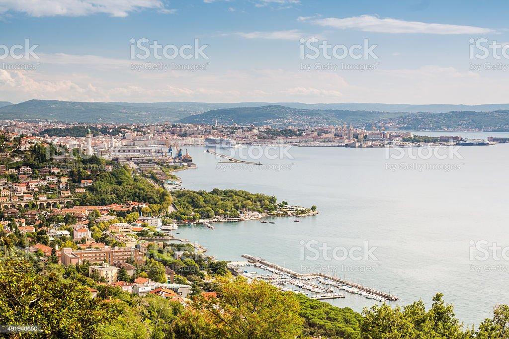 Panorama of Trieste, Italy stock photo