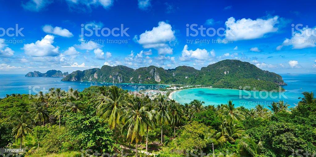 Panorama of tropical island stock photo