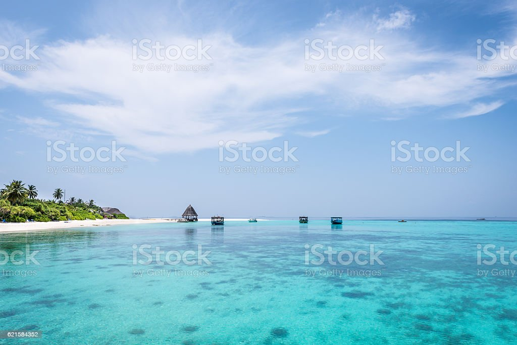 Panorama of tropical lagoon in Indian Ocean. stock photo