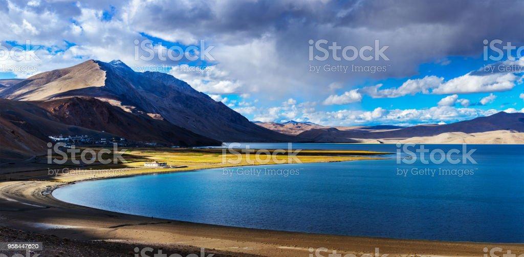 Panorama of Tso Moriri on sunset, Ladakh stock photo