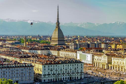 Panorama of Turin (Piedmont, Italy).