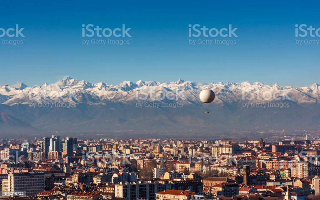 Panorama of Turin, with the Alps in the backround, Turin, Italy stock photo