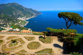 Panorama of turquoise Amalfi Coast from above Ravello, Italy