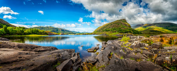 panorama of typical landscape in ireland - republic of ireland stock pictures, royalty-free photos & images