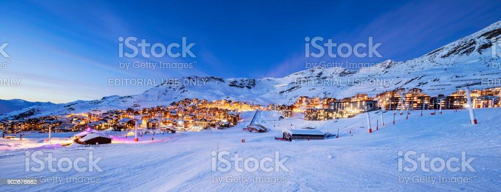Panorama of Val Thorens by night stock photo