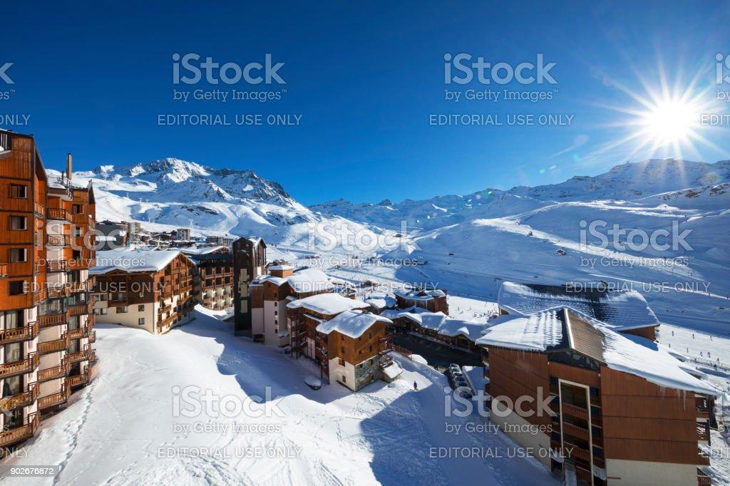 Panorama of Val Thorens stock photo