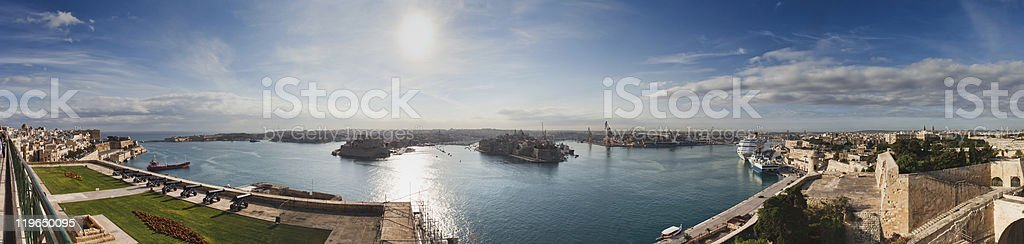 Panorama of Valletta harbour, Malta stock photo