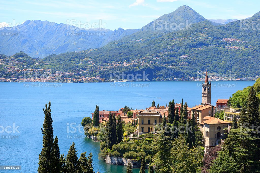 Panorama of Varenna at Lake Como with mountains in Italy stock photo