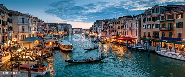 Panorama of Venice at night, Italy. Beautiful cityscape of Venice in evening. Panoramic view of Grand Canal at dusk. It is one of the main travel attractions of Venice. Romantic water trip in Venice.