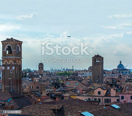Venice, Italy - MAY 16, 2019: Panorama of Venice from a bird's eye view