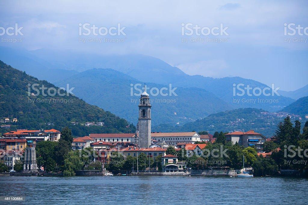 Panorama of Verbania town on Lake Maggiore, Italy stock photo