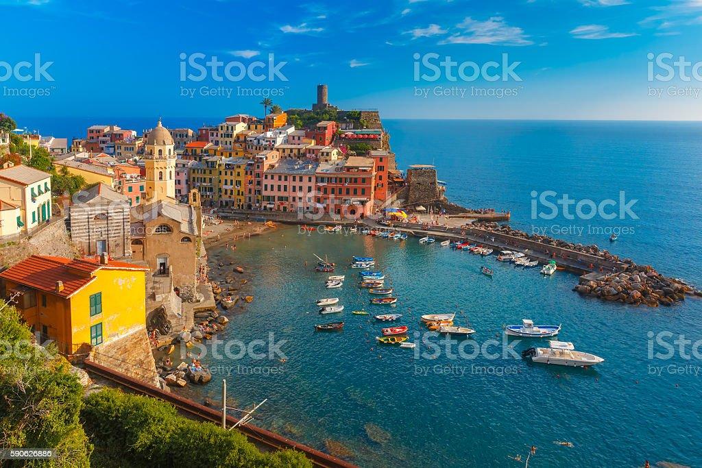 Panorama of Vernazza, Cinque Terre, Liguria, Italy stock photo