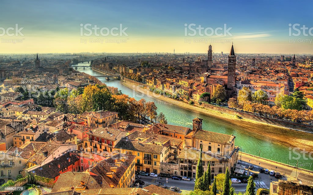 Panorama of Verona in the morning haze - Italy stock photo