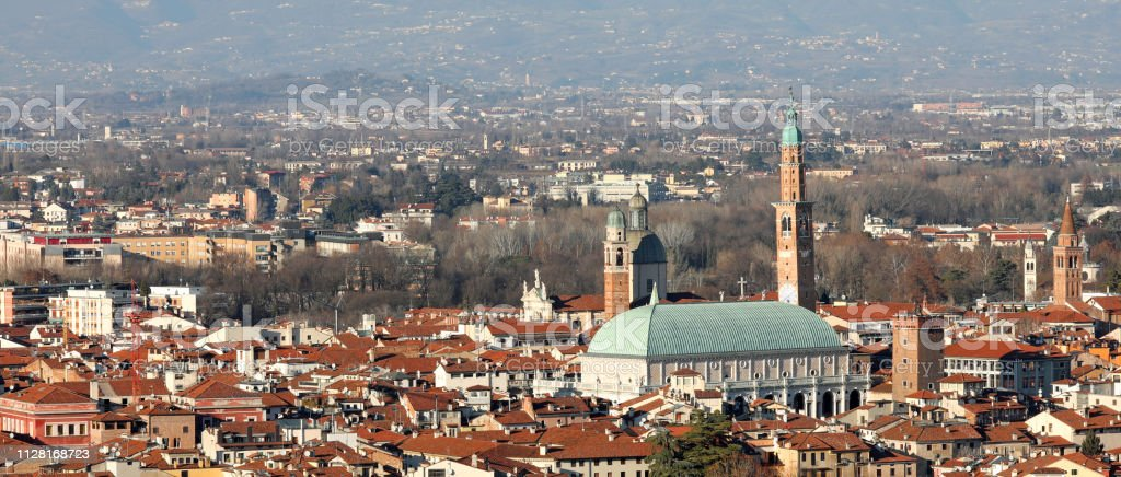 Panorama  of Vicenza in Northern Italy with the famous monument - foto stock