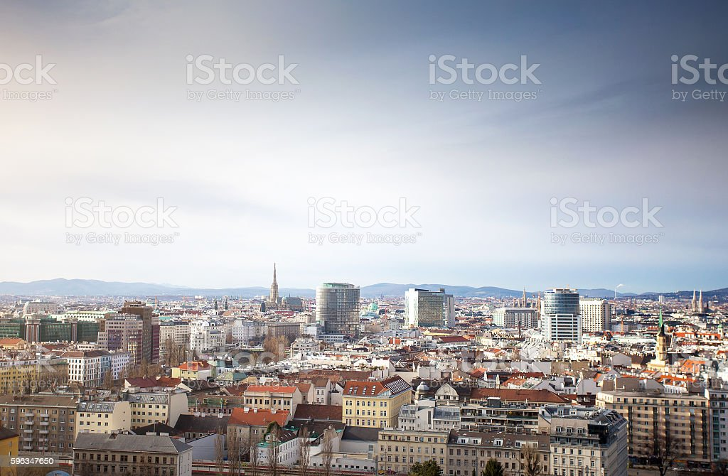 Panorama of Vienna city center from Prater royalty-free stock photo