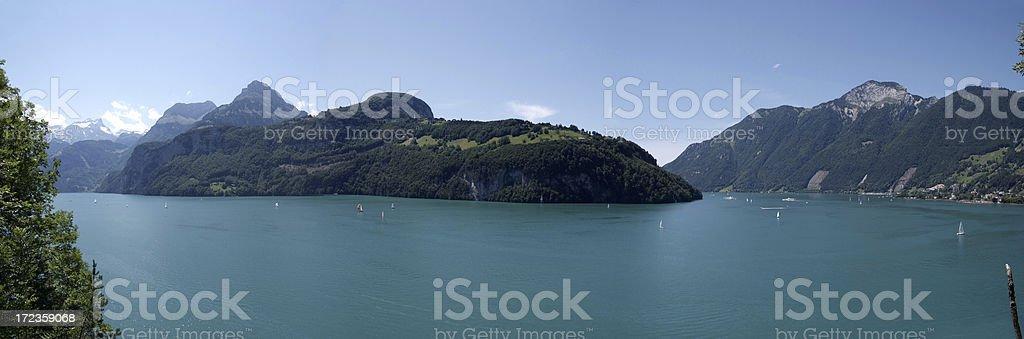 Panorama of Vierwaldstaettersee royalty-free stock photo